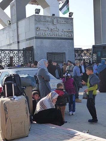 Palestinians at Rafah Crossing , February. 2016. Photo by OCHA