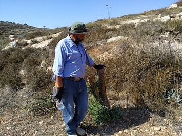 Sa'id with one of his vandalized trees from February 2020
