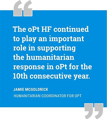 """The oPt HF continued to play an important role in supporting the humanitarian response in the oPt for the 10th consecutive year."" Jamie McGoldrick"