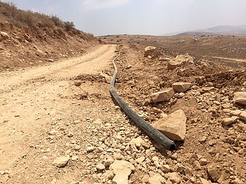 A water pipe that formed part of a water network in Khirbet Yarza that was partially dismantled and confiscated on 8 August 2016 by the Israeli authorities, affecting drinking water supply to nearly 1,000 Palestinians in five communities.