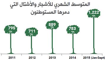 المتوسط الشهري للأشجار والأشتال التي دمرها المستوطنون