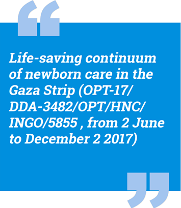 Life-saving continuum of newborn care in the Gaza Strip