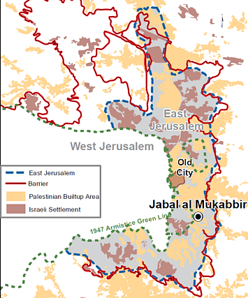 Map of East Jerusalem and Jabal al Mukabbir