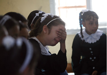 Shaima at school. Photo by UNICEF/ElBaba