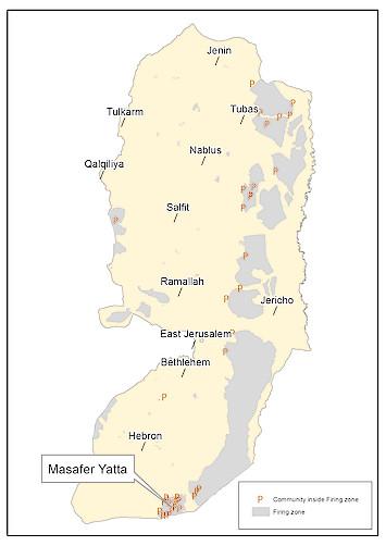 מפה: שטחים צבאיים סגורים ושטחי אש בגדה המערבית