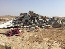 هدم منزل مموّل من قبل الصندوق الإنساني للأرض الفلسطينية المحتلة في قواويس في الخليل في 3 أيلول/ سبتمبر. تصوير مكتب الأمم المتحدة لتنسيق الشؤون الإنسانية ( أوتشا)