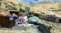 One home demolished in Abu George Bedouin - Nkheila community (Jerusalem), 8 July 2020. The family is facing its second demolition and displacement in one month. Photo by OCHA.