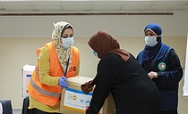 Dignity kits containing essential hygiene supplies for vulnerable women distributed by UNFPA