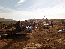 Home in the herding community of Al Hadidiya demolished due to lack of building permits, 26 November 2015. Photo by OCHA.