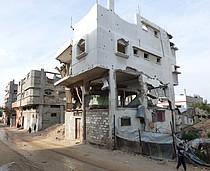 Destroyed house from 2014 hostilities, Gaza. © Photo by OCHA, January 2016.