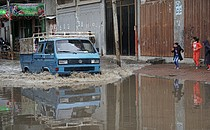 فيضانات سبّبها هطول أمطار خفيفة في خان يونس، تشرين الثاني/نوفمبر 2017 © - تصوير مكتب الأمم المتحدة لتنسيق الشؤون الإنسانية (أوتشا)