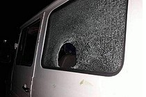 Shattered car window in Halhul. Photo by Yesh Din
