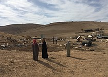 Women in Tell el Himma 15 days after demolition took place. Photo by OCHA