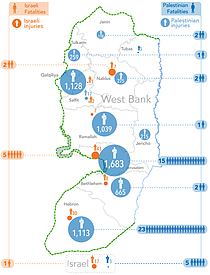 Map: October 2015 Casualties in the West Bank and Israel