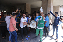 Casualties following airstrike on Gaza, 11 May 2021. Photo by Samar Abu Elouf, photographer