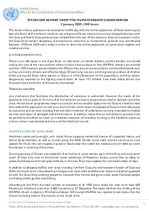 Gaza Humanitarian Situation Report   January   United Nations