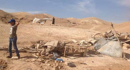 Donor-funded residential and livelihood structures demolished in Deir al Qilt Bedouin community (Jericho), 26 April 2020. Photo by OCHA.