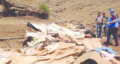 Demolition of six donor-funded residences and livelihood tents in Khirbet ar Ras al Ahmar (Tubas) on 30 July. Photo by OCHA.