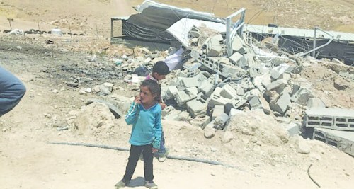 Demolition of three donated residences in Halaweh community (south Hebron) on 17 June.