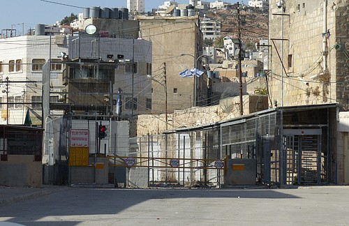 Fortified checkpoint in Hebron city