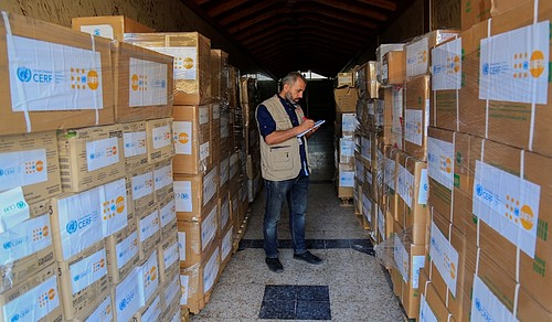 UNFPA staff preparing the distribution of essential medical supplies, Gaza City (14 July 2019).  ©  Photo by UNFPA, Yousef Nateel