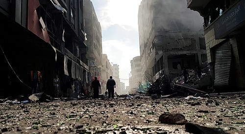 A street in Gaza city after an Israeli airstrike hit a multistory building on 13 November 2018. Photo by Muthana El Najjar