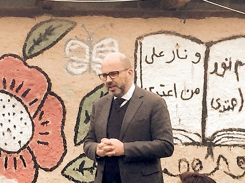 The UN Coordinator for Humanitarian Aid and Development Activities for the occupied Palestinian territory, Robert Piper, in Khan al Ahmar, 22 February 2017