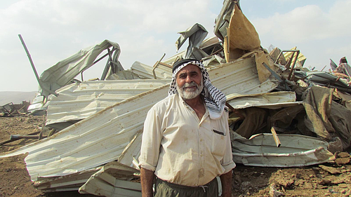 Demolition of eight structures in Al Hadidiya Bedouin community in the Jordan Valley on 11 October. Photo by OCHA